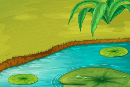 Illustration of the edge of a pond Vector