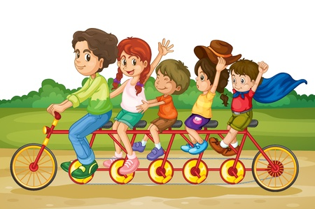 Family riding on same bike in park Vector