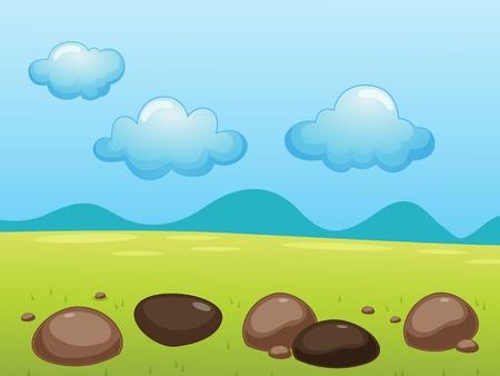 alpine tundra: illustration of rocks in a field