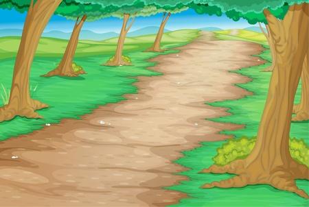 Path through a cartoon forest
