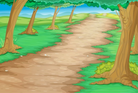 dirt road: Path through a cartoon forest