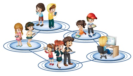 apoyo social: Ilustración de la red social de convept Vectores