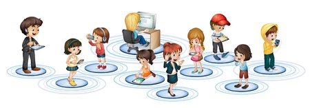 socialize: Illustration of communication social networking