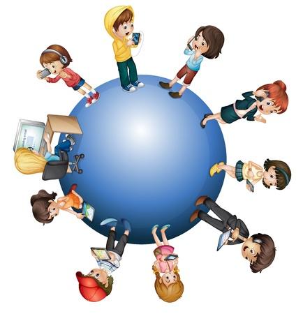 educativo: Concepto de la tecnología mundial sobre blanco