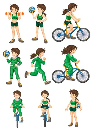Collection of isolated woman doing exercises Vector