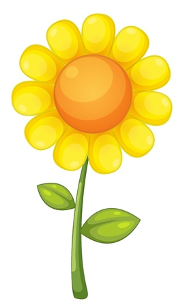 zonnebloem: illustratie van een geïsoleerd zonnebloem Stock Illustratie