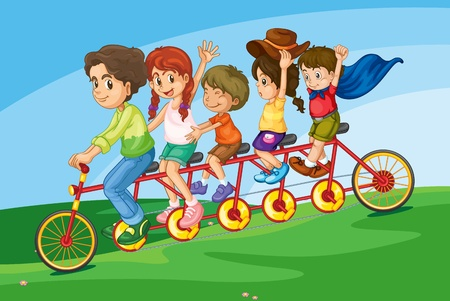 Cartoon of a family riding on a long bicycle Vector