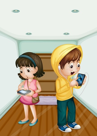 handheld device: Illustration of kids using mobile technology