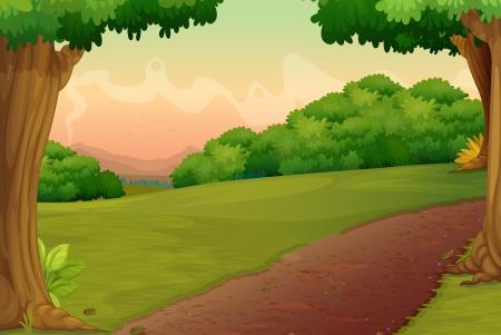 Ilustración de un camino en un entorno rural