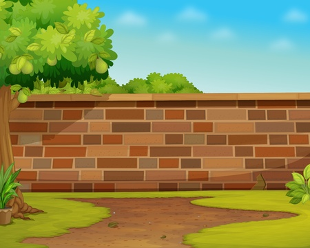 Illustration of a brick wall in a garden Illustration