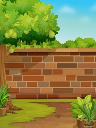 Illustration of a brick wall in a garden Stock Vector - 13376928