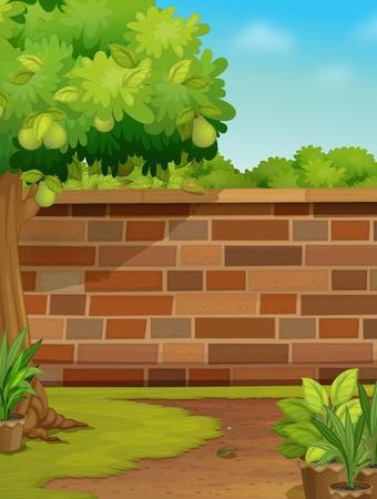 Illustration of a brick wall in a garden Vector