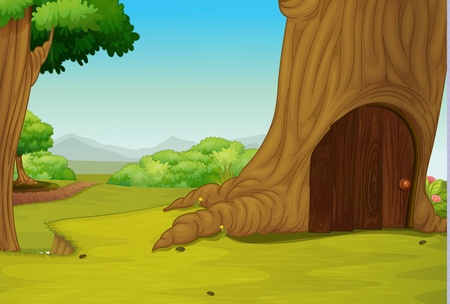 uphill: Illustration of a little door in a tree hollow