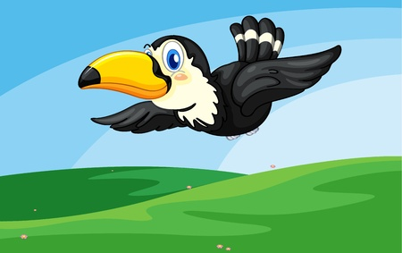 hornbill: Illustration of a toucan in flight Illustration