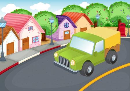 근교: 도로에 녹색 자동차 운전의 그림