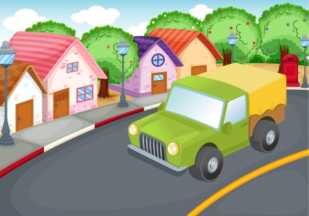 suburbs: illustration of a green car driving on a road