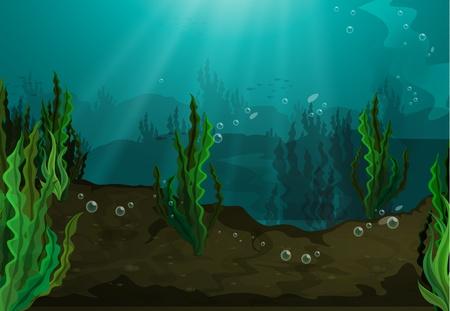 Bajo el agua en el hábitat de agua dulce Ilustración de vector
