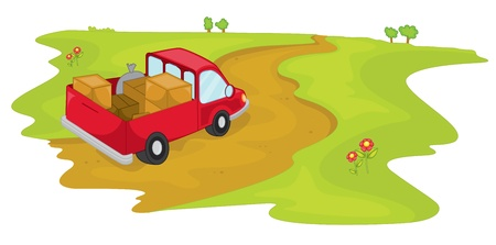 Illustration of a truck in a field illustration