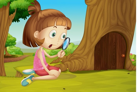 exploring: Cute girl with magnifying glass Illustration