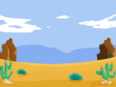 cactus desert: Illustration of isolated