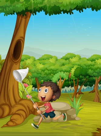 kids playing outside: Cute boy with a net catching insects Illustration