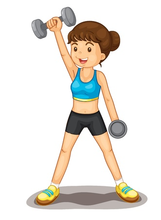 big breast: Illustration of isolated woman lifting weights Illustration