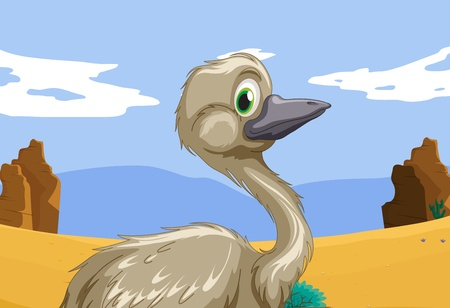 Aussie emu in the outback Vector