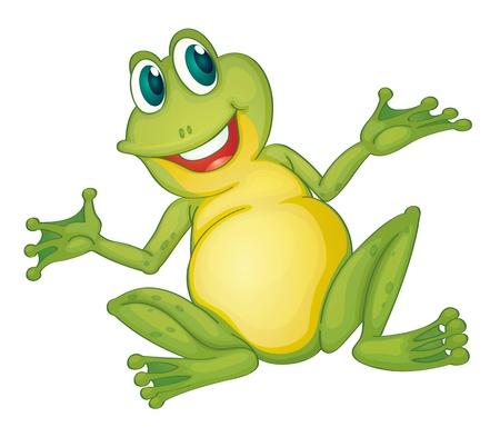 caricaturas de ranas: Ilustraci�n de la rana de dibujos animados aislado Vectores