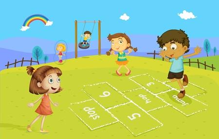 patio escuela: Ilustraci�n de ni�os jugando a la rayuela