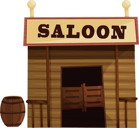 wild wild west: Illustrazione di saloon nel selvaggio west