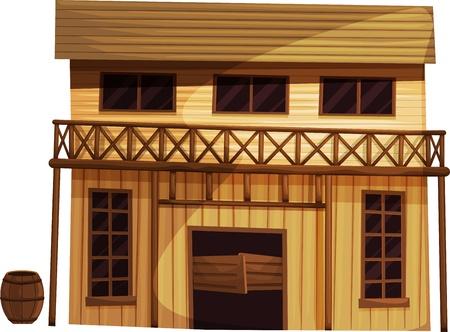 Illustratie van een losstaand gebouw uit het Wilde Westen