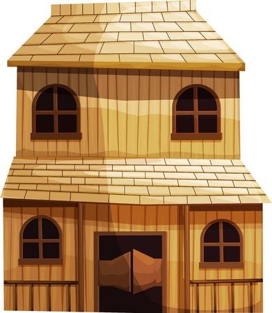 old barn: Illustrazione di un edificio isolato dal Wild West Vettoriali