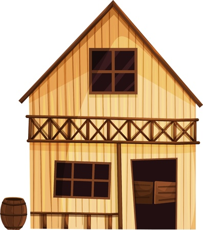 Illustration of an isolated building from the Wild West Vector