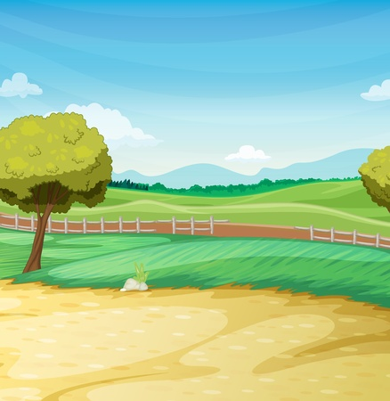cartoon farm: Empty farm scene landscape illustration Illustration
