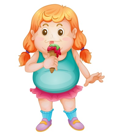 overweight kid: Illustration of an isolated fat girl