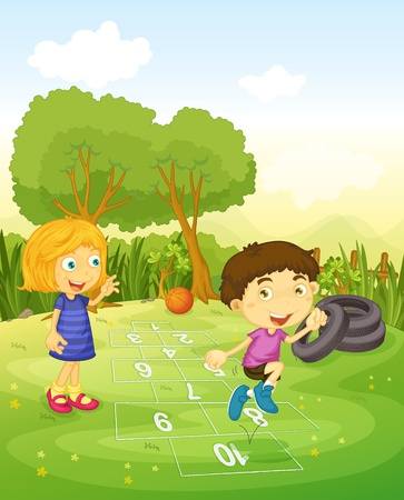 playing field: Cartoon of children playing hopscotch