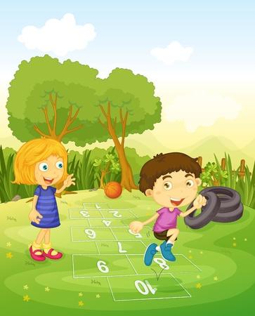 patio escuela: De dibujos animados de los ni�os que juegan a la rayuela