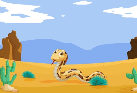 cartoon snake: Illustration of a snake in the desert