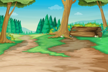 Winding forest path with old log Vector