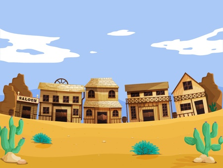 Wild west illustration scene with detail