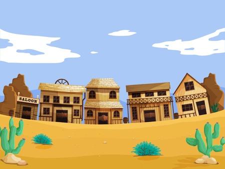 saloon: Wild West escena ilustraci�n con detalles