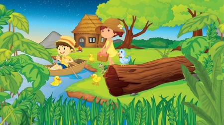 birds scenery: Illustration of 2 children camping in the woods