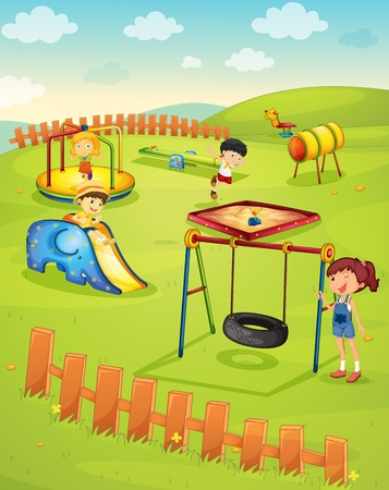 yards: Illustration of children in the playground Illustration