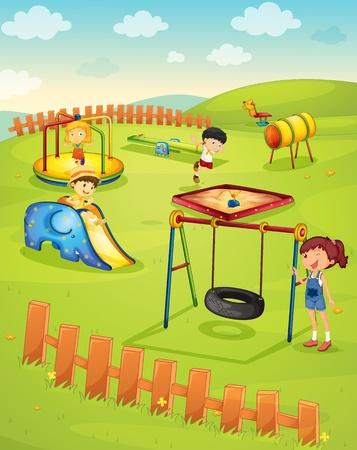 patio escuela: Ilustraci�n de los ni�os en el patio de recreo Vectores