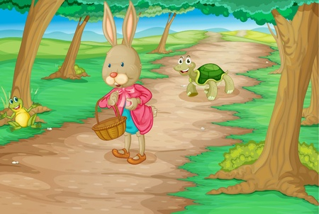 Illustration of rabbit and animals in the woods Vector