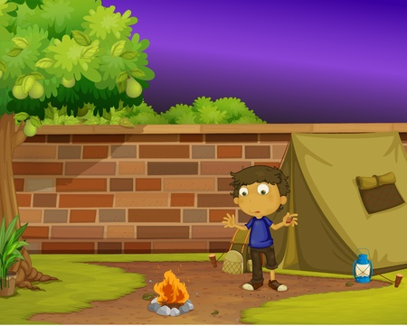 clearing: Illustration of boy camping at home Illustration