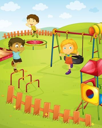 niños en area de juegos: Ilustración de los niños en el patio de recreo Vectores