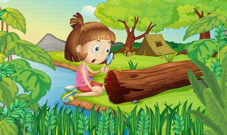 worms: Illustration of girl in the woods with magnifying glass