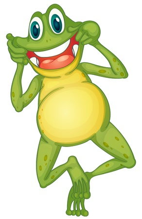 making face: Illustration of a frog cartoon character