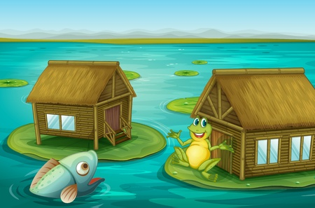 imaginary: Illustraton of cabins on the water with a frog and a fish